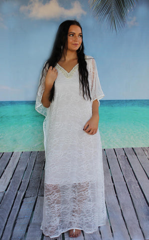 white lace pretty elegant dress caftan with pearl details