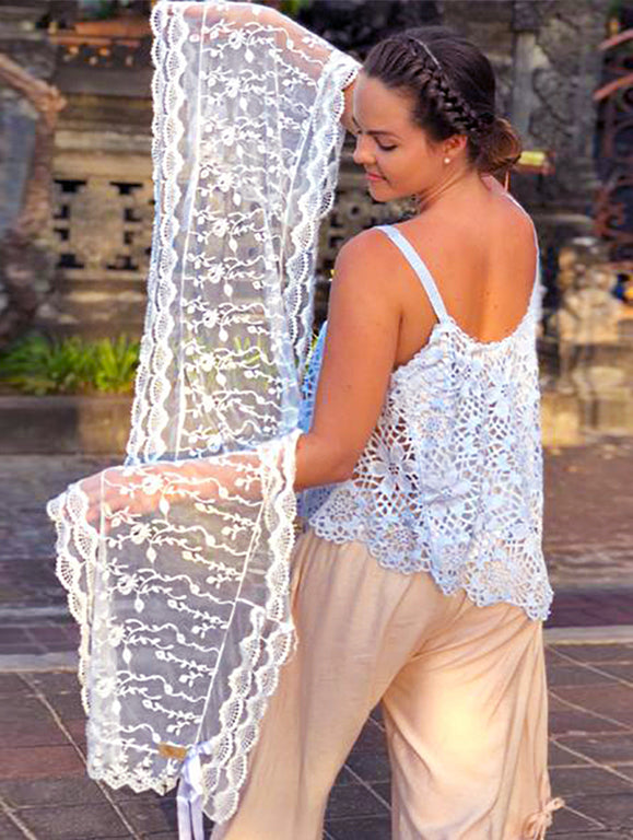 Ivy White Lace Scarf - Purity Lace Designs