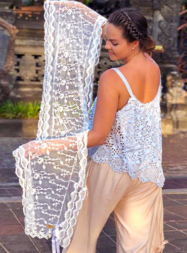 Ivy White Lace Scarf / Wrap Top