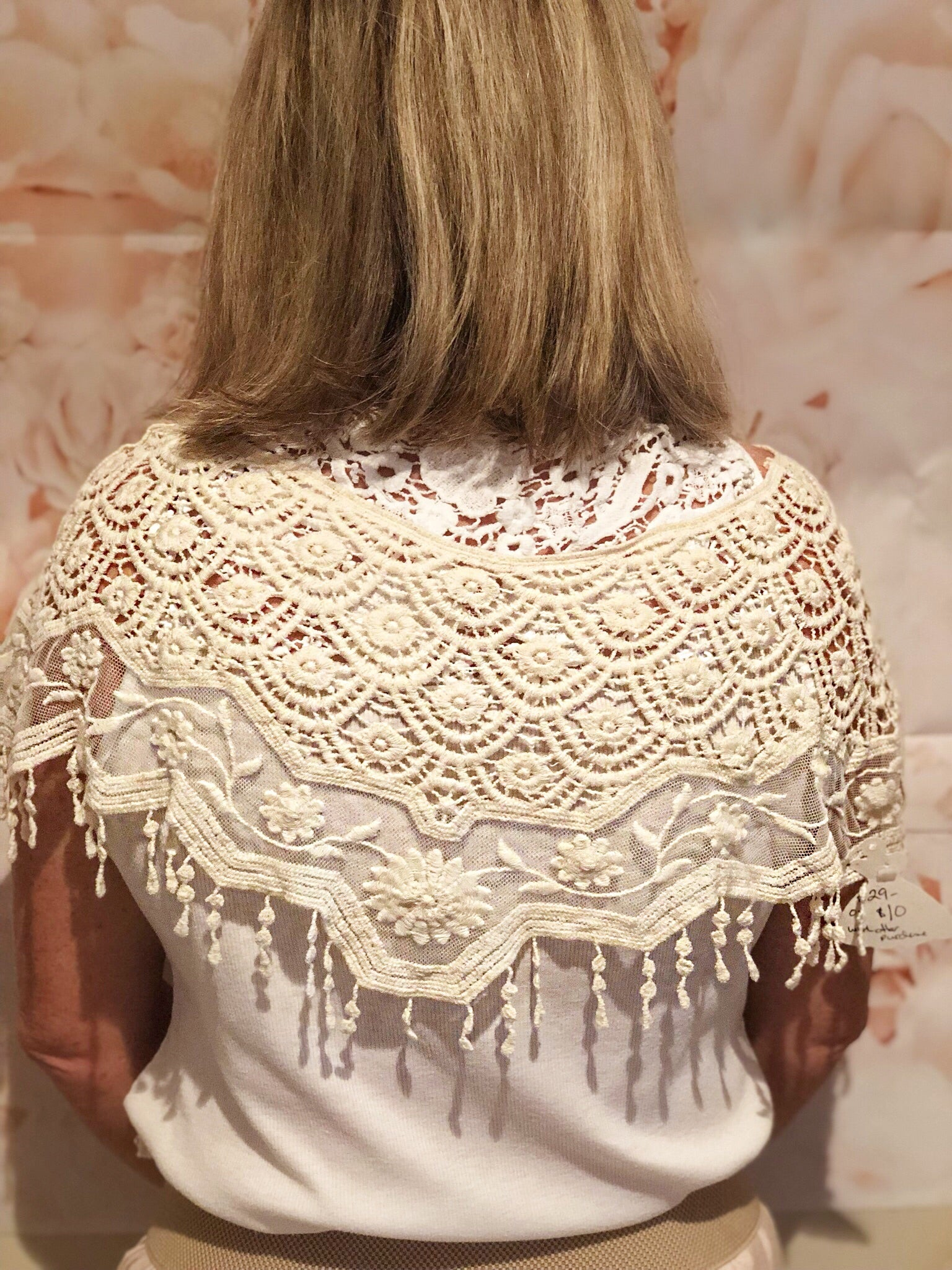 Cream Lace Shoulder Cape - Purity Lace Designs