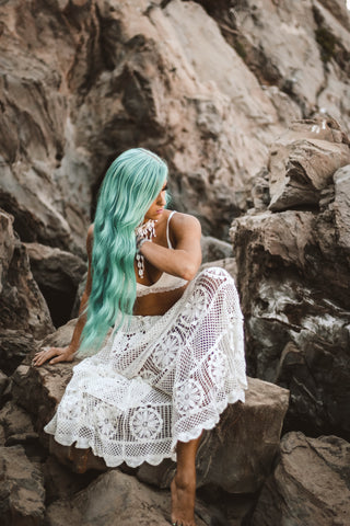 crochet boho lace white skirt mermaid feels