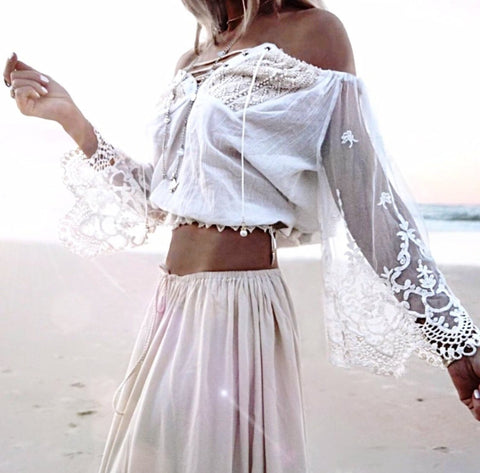 lace gypsy boho crop top