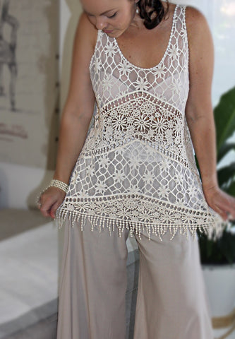 Gatsby lace dress top sheer beach throw roaring 20's feminine crochet
