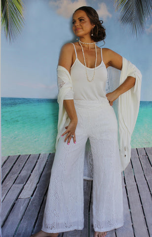 white lace pants boho