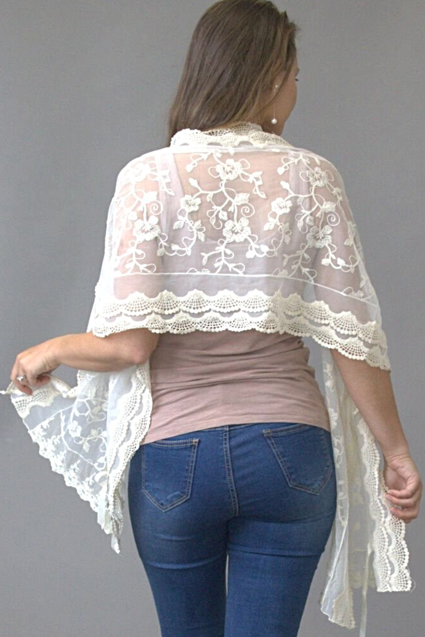 Floral Delight cream lace scarf - Purity Lace Designs