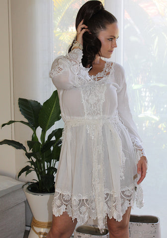 beach bride white Italian resort cotton dress lace cutout