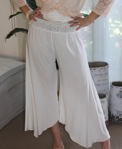 lace band flapper pants white pretty classy pants bride bridal cruise resort wear