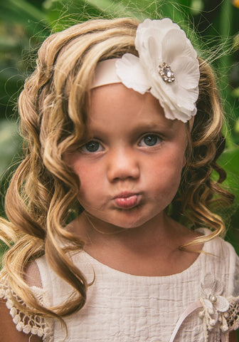 kids flower girl headband vintage lace photography headband