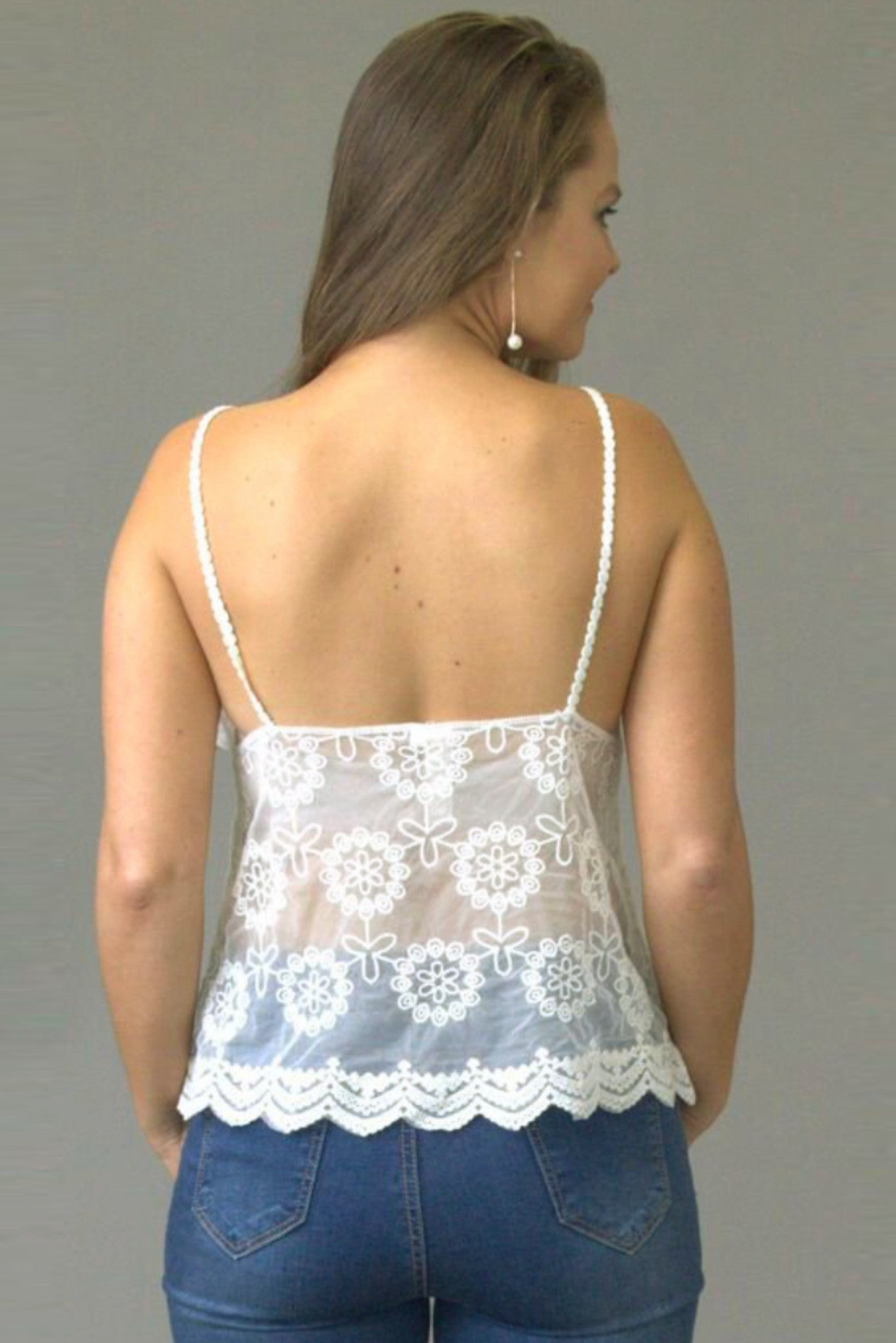 Dainty Daisy Fan Cream Lace Cami - Purity Lace Designs