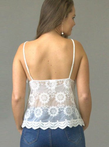 Dainty Daisy Fan Cream Lace Cami