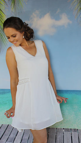 pretty white sundress with chiffon overlay