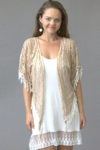 French Raw Sugar Lace Bolero - Purity Lace Designs
