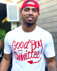 Good Boy Committee White and Red Original Logo