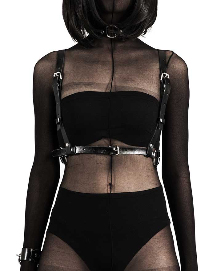 The Black Raven Leather Body Harness