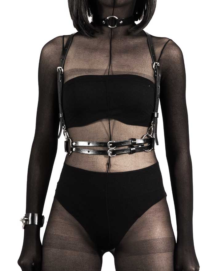 The Black Widow Leather Body Harness