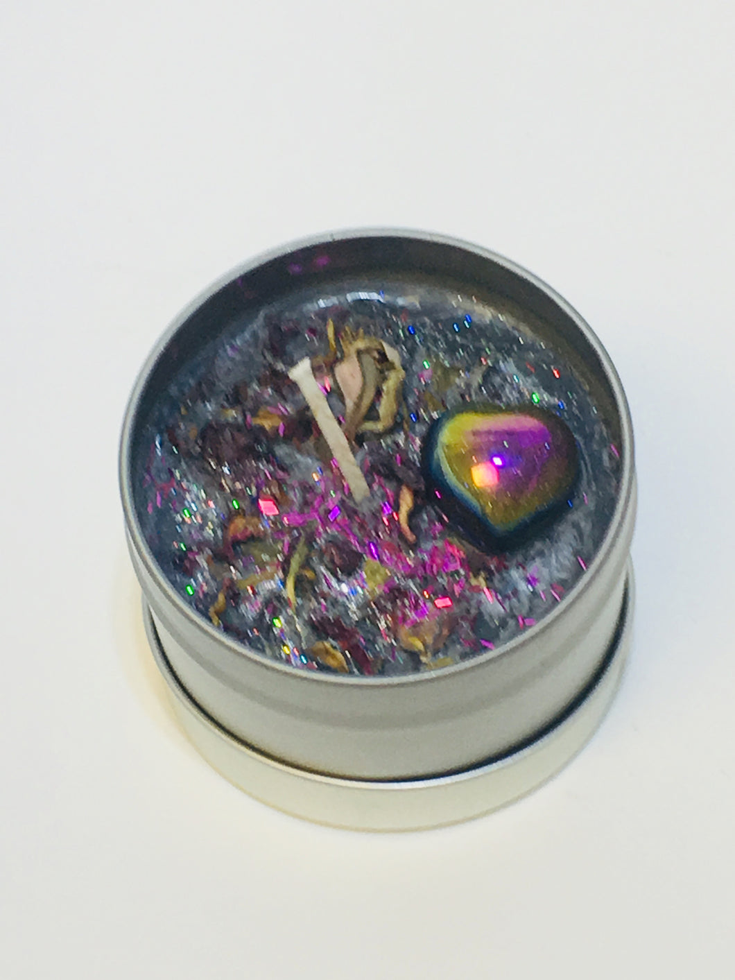 Luna Intention Crystal Candle- Rainbow Hematite