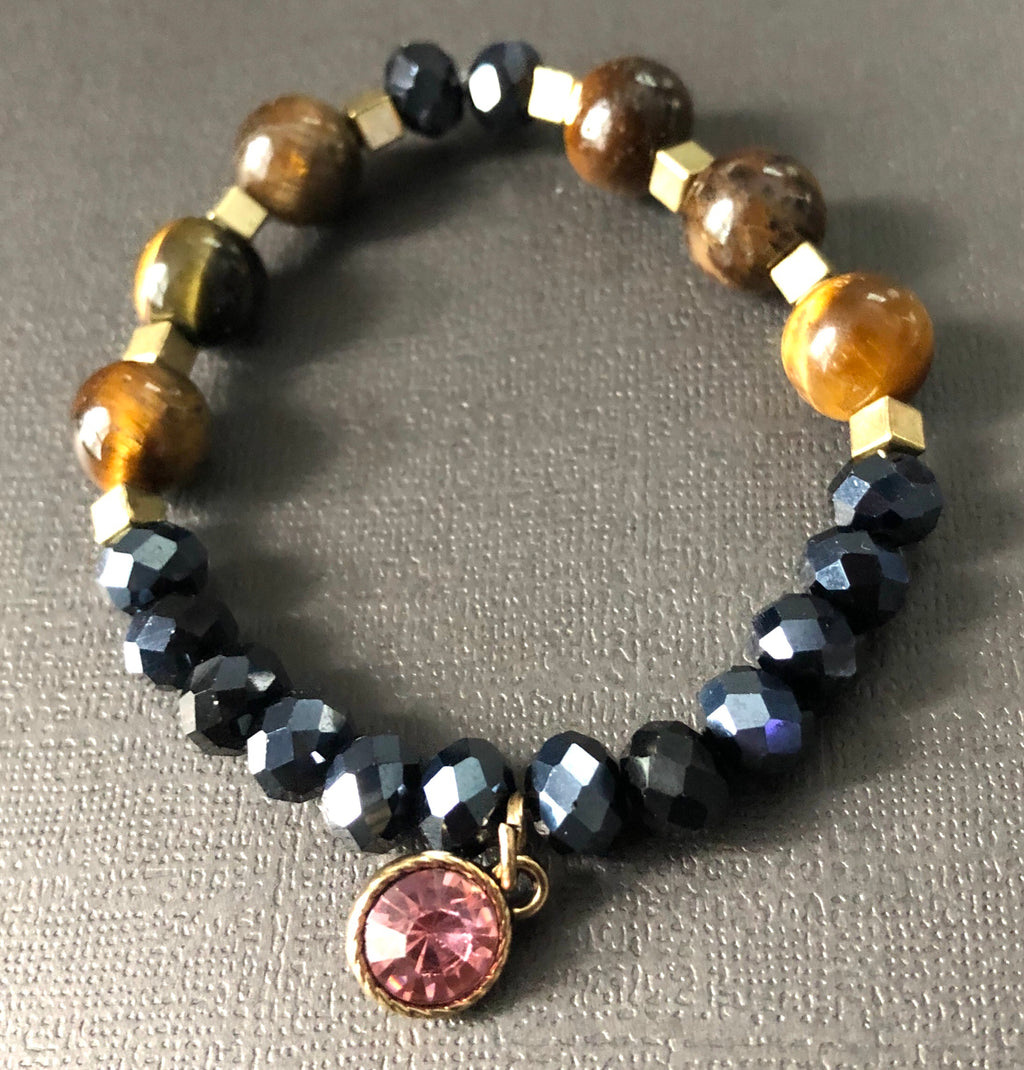 Blue Gold & Jasper Gemstone Beaded Bracelet
