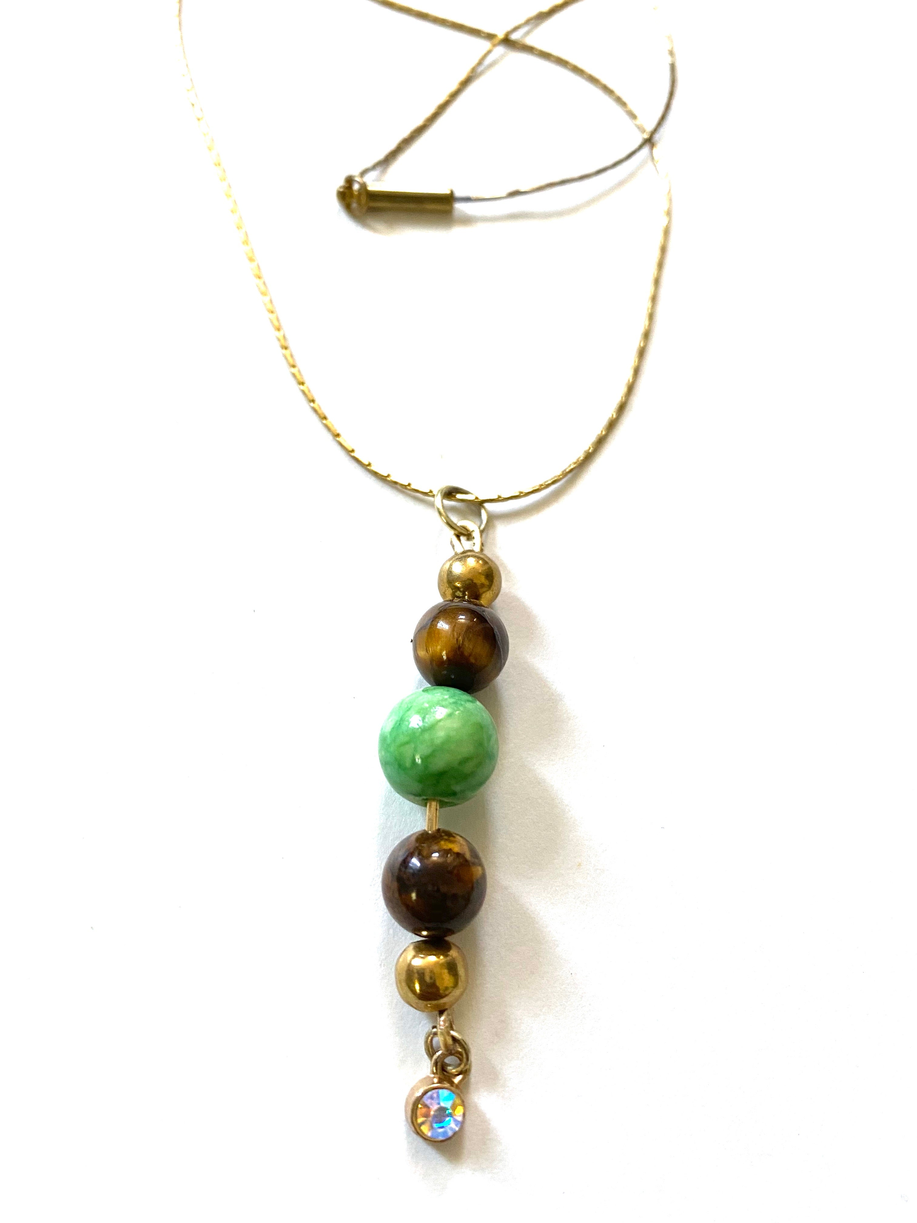 Light Green And Brown Beaded Gold Necklace