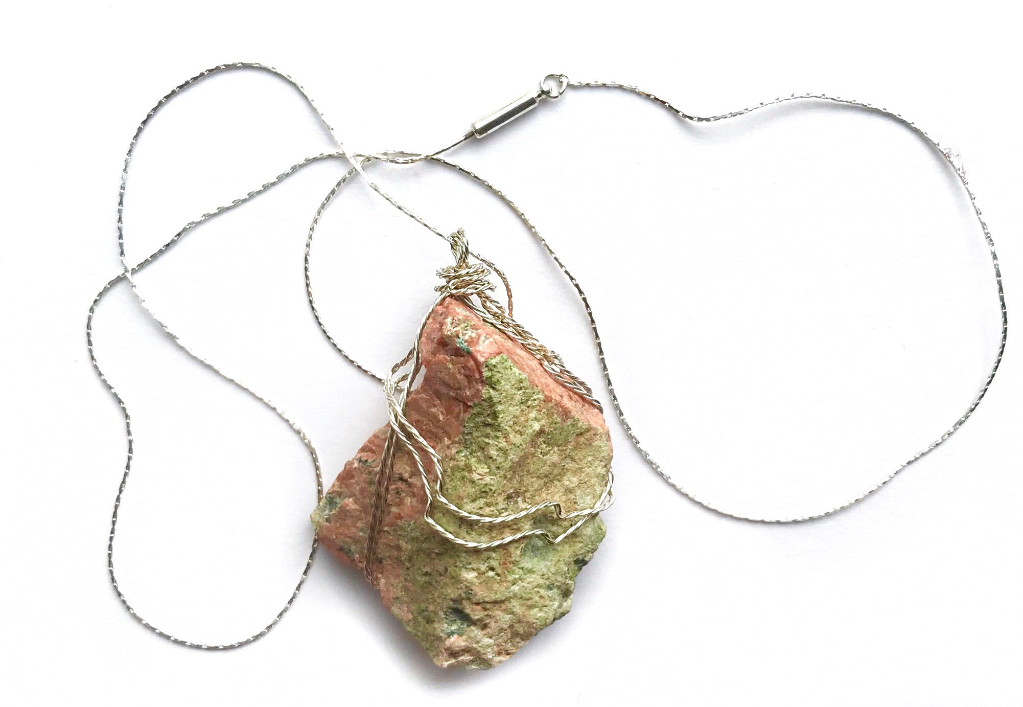 Unakite Gemstone Wire Wrapped Silver Necklace