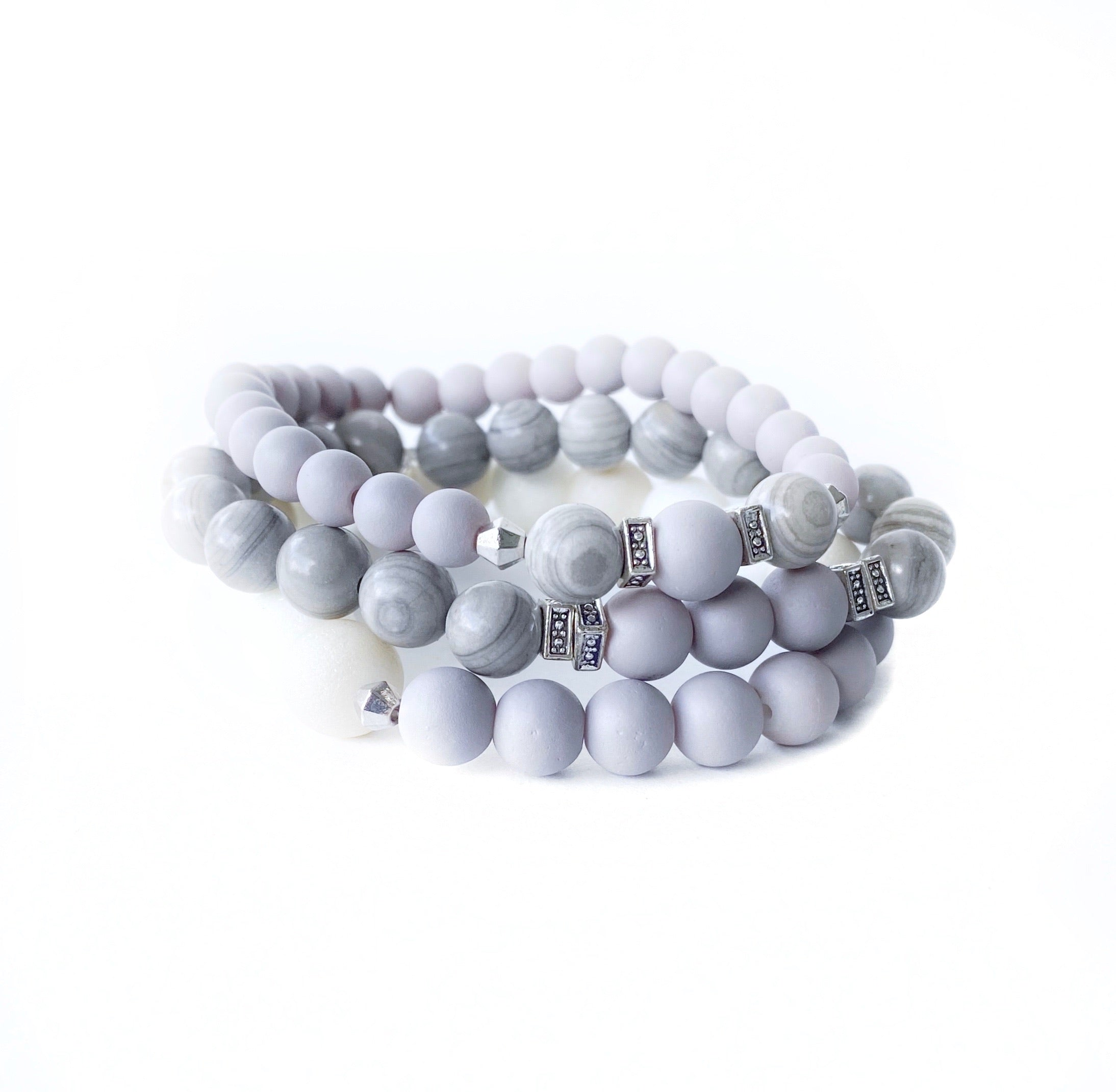 Grey and White Beaded Bracelet Stack