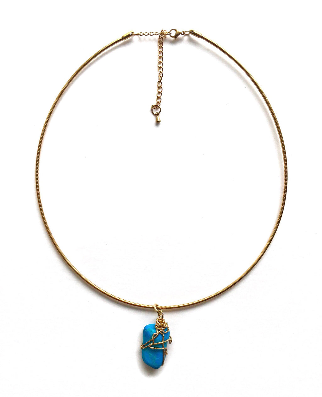 Gold Blue Howlite Gemstone Necklace
