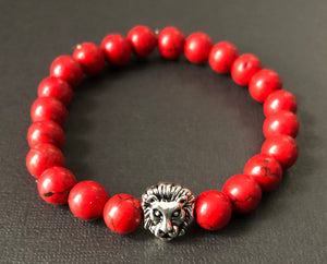 Red with Silver Lion Beaded Bracelet