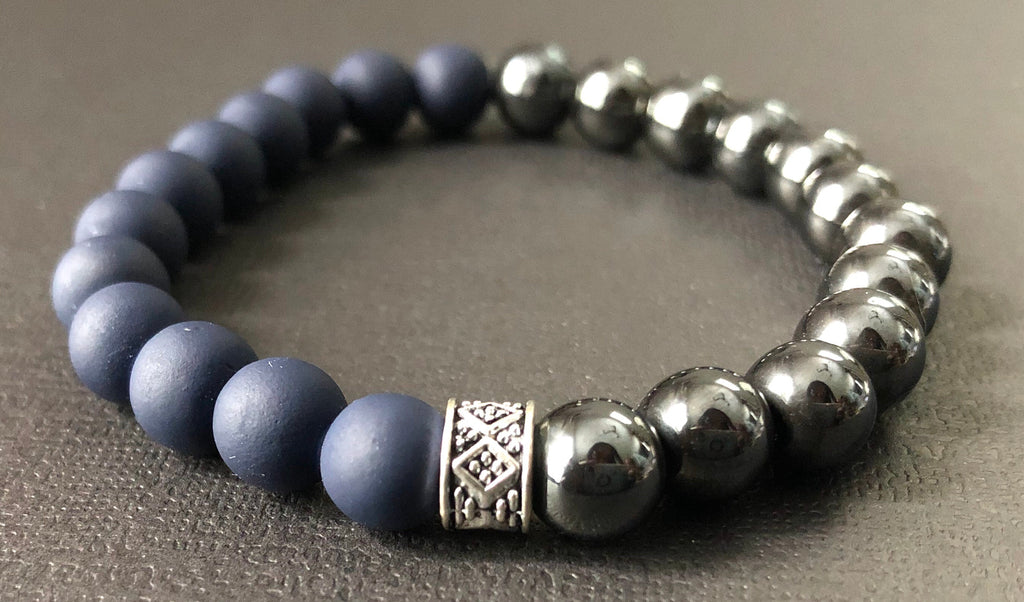 Matte Blue & Titanium/Silver Beaded Tribal Bracelet