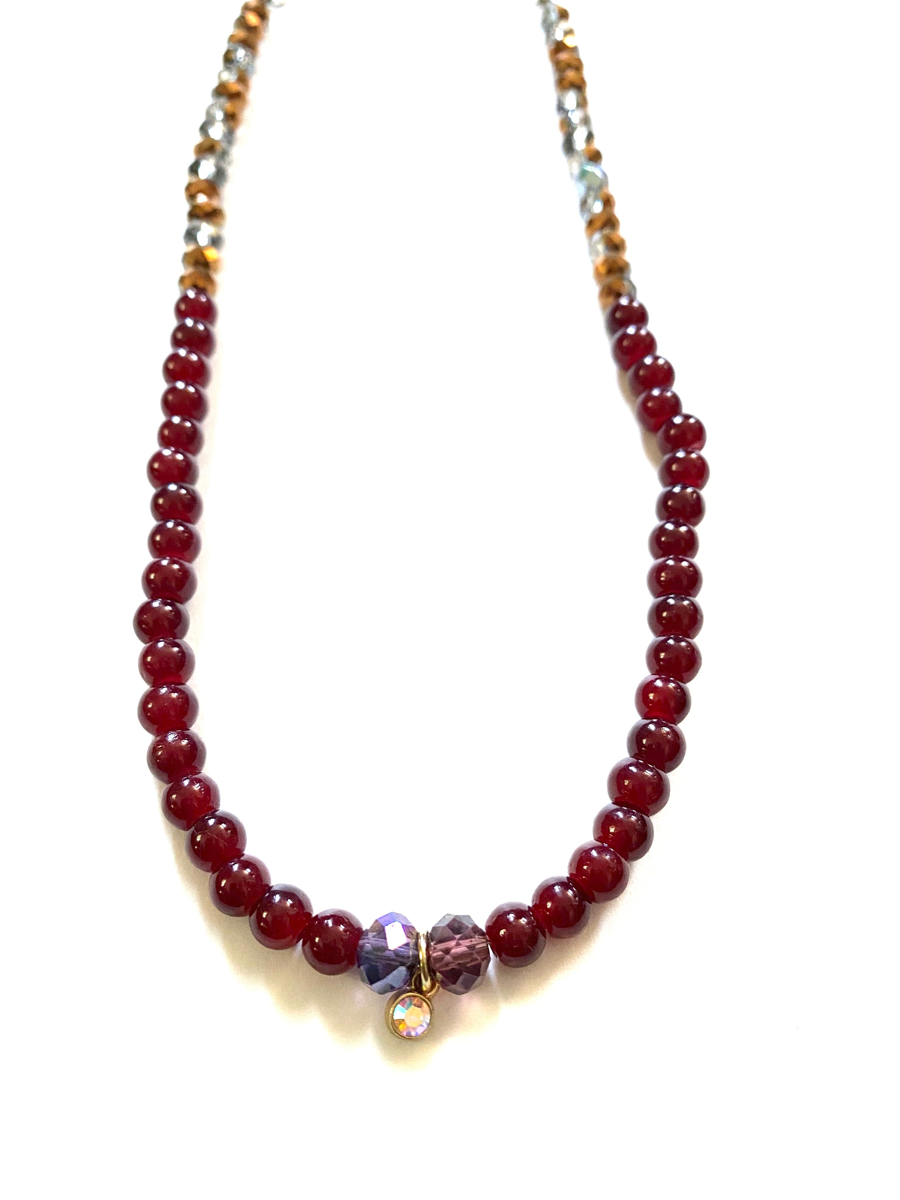 Red & Gold Beaded Long Chain Necklace