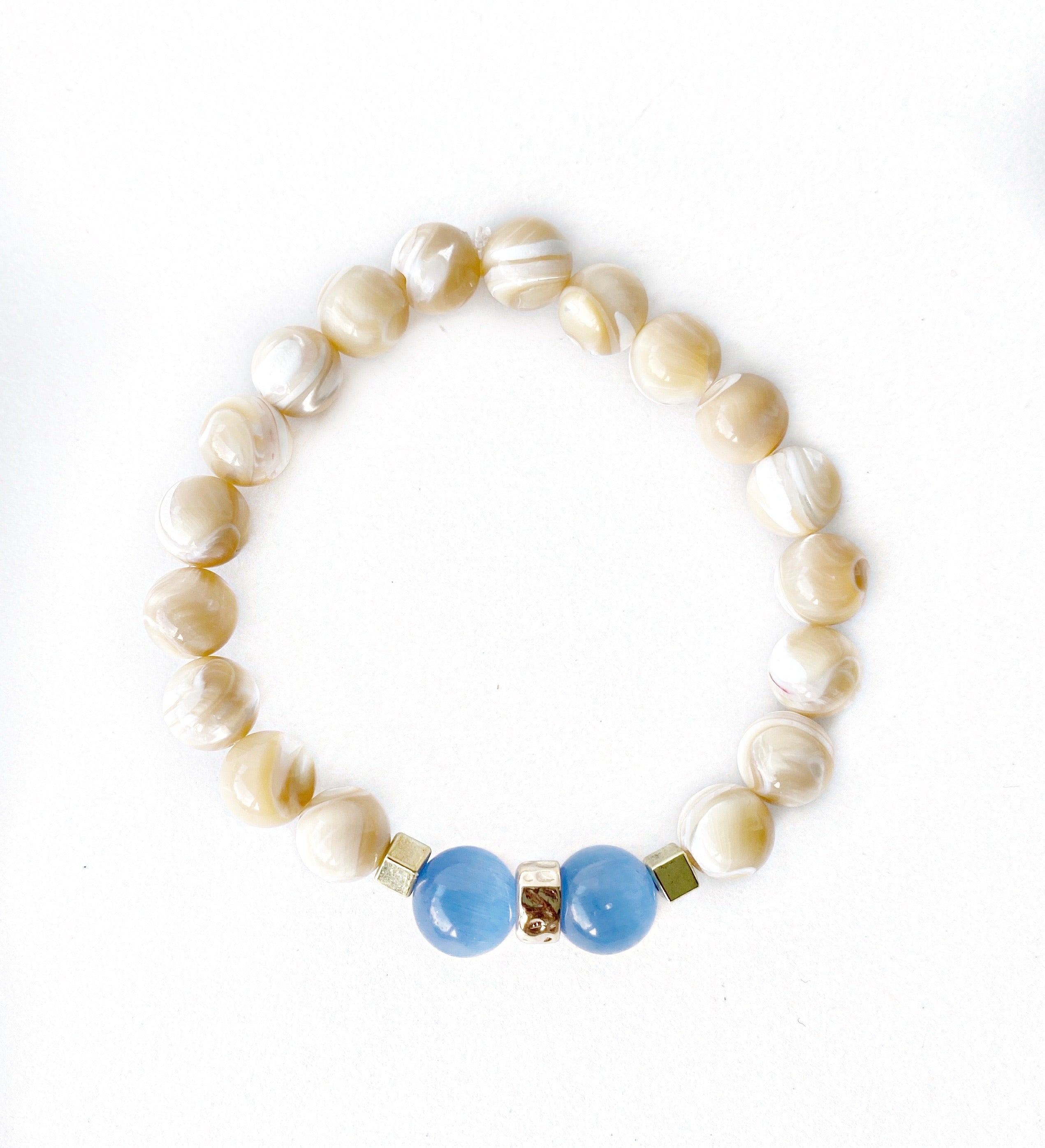 Natural Mother of Pearl & Sapphire Cat's Eye Bracelet Stack