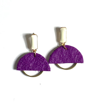Open image in slideshow, Half Moon Embossed Polymer Clay Earrings with Gold
