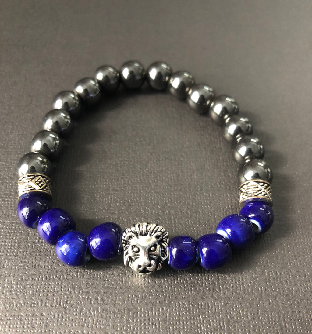 Electric Blue & Titanium Beaded Bracelet with Silver lion