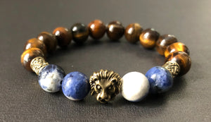 Blue Sodalite & Jasper Gemstone Beaded Lion Bracelet