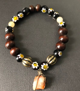 Brown Wooden & Flower Beaded Bracelet with Gemstone Charm