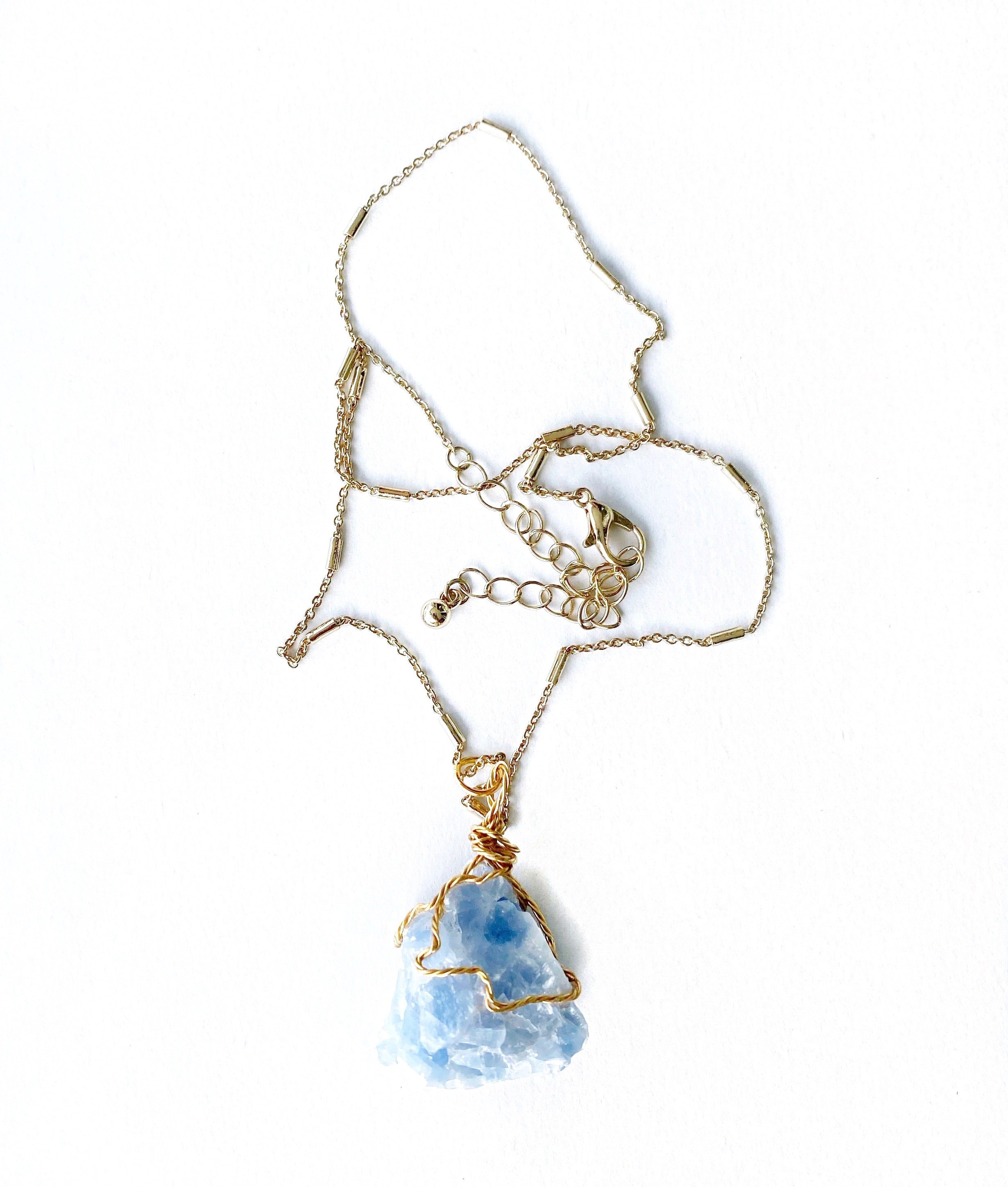 Rough Blue Calcite Gemstone Crystal Gold Necklace