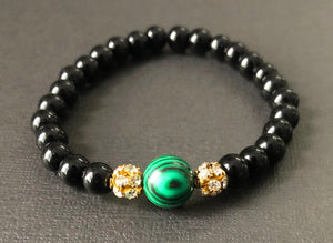 Vibrant Green, Black & Gold Diamond Beaded Bracelet