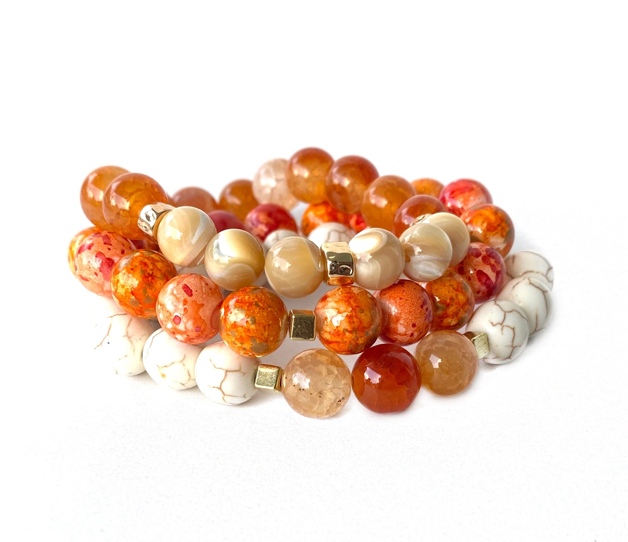 Fire Agate Dyed Amber & Orange Beaded Bracelet Stack