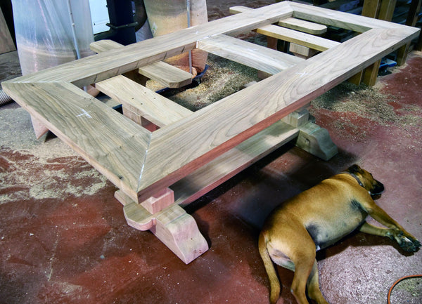 Elm Table & Rocky Dog
