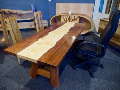 Tasmanian Blackwood & Birds Eye Huon Inlay Table