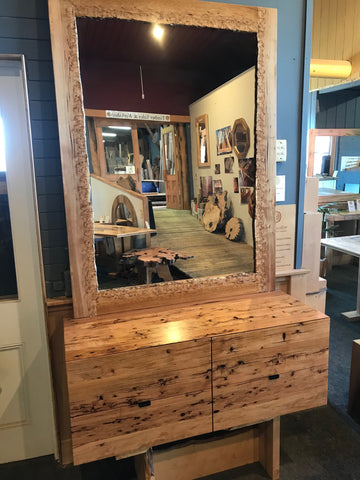 Tasmanian Oak Burl Vanity and Matching Mirror set unique