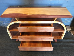 Art Deco stylish TV Cabinet or Buffet  -   Tas Oak -  Burl Myrtle - Birds Eye Huon -  Flame Myrtle
