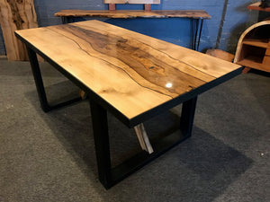 Desk or Dining Table in Solid Blackheart Sassafras with Steel Base