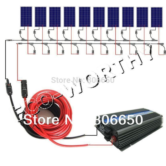 USA Stock  1000W COMPLETE KIT: 10*100W WATT PV Poly Solar Cell Panel 12V On Grid Solar System - Doctor Doomsday Survival Co.