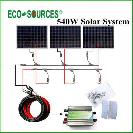 ECO-WORTHY GE Stock 500W Solar Panel Complete Kit: 3*180W Solar Module W/ Controller & Solar Cables - Doctor Doomsday Survival Co.