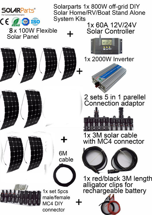Solarparts 800W off-grid Solar System KITS flexible solar panel +controller+inverter+cable+adaptor for RV/Marine/Camping/Home . - Doctor Doomsday Survival Co.