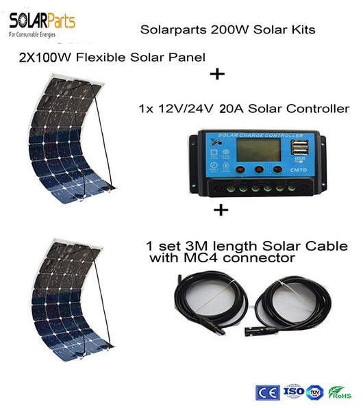 Solarparts 200W DIY RV/Boat Kits Solar System 2 x100W PV flexible solar panel 12V, 1 x 20A solar controller, 1 set 3M MC4 cable - Doctor Doomsday Survival Co.