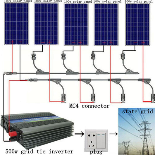 USA stock Large USA style 500W COMPLETE KIT: 5*100W WATT PV Poly Solar Cell Panel 12V On Grid Solar System  No Tax No Duty