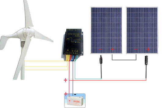 USA Stock 24V 600W/H Hybrid System Kit:400W Wind Turbine Generator & 200W PV Solar Panel - Doctor Doomsday Survival Co.