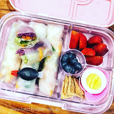 Purple noodle rice paper rolls