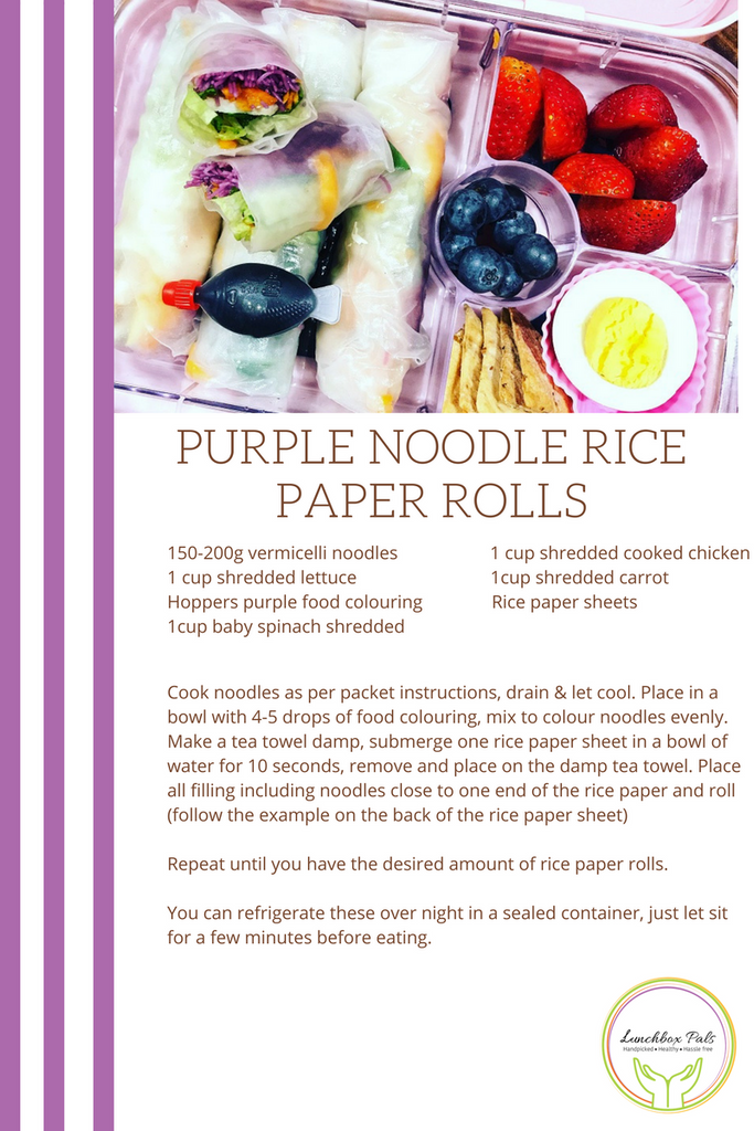 Lunchbox Pals purple rice paper rolls for a healthy lunch