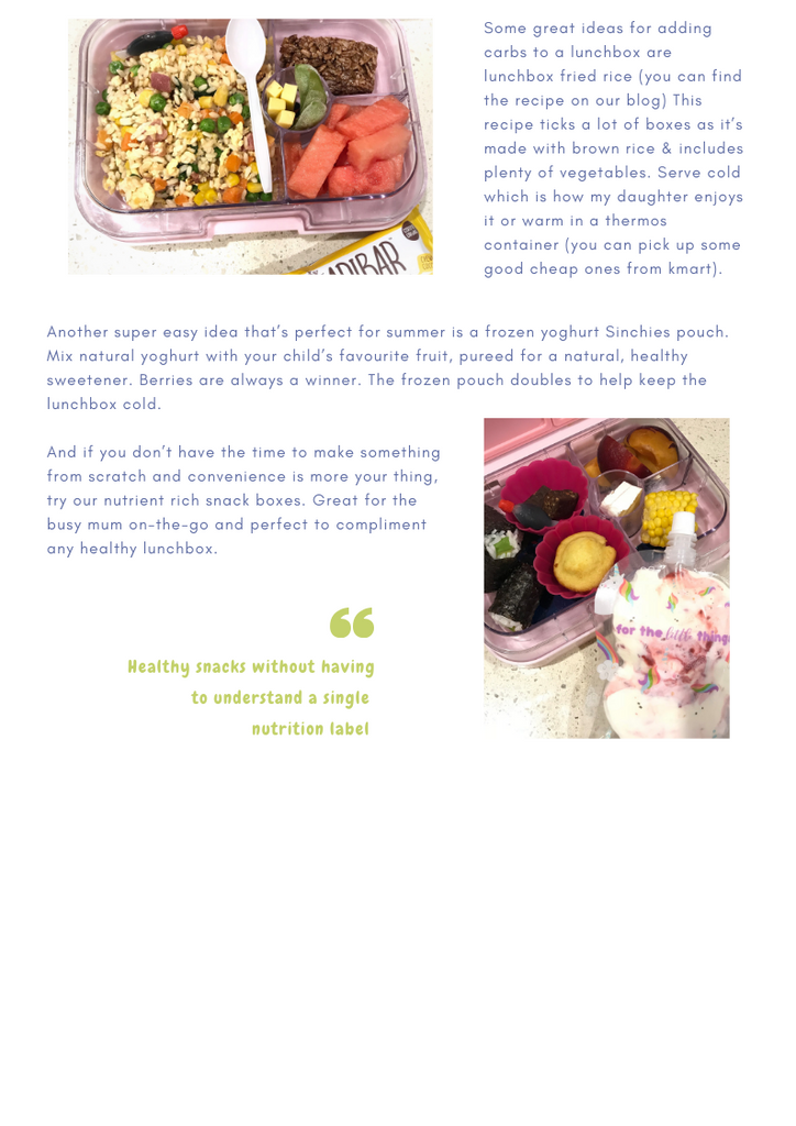 Lunchbox pals healthy lunchbox ideas